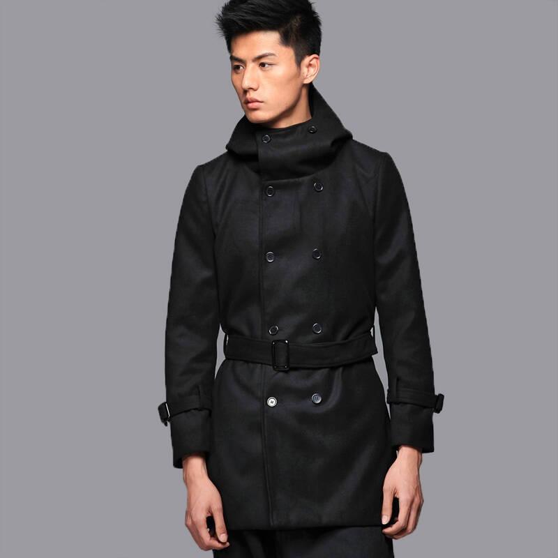非池中男裝2011冬季新款 帶帽雙排扣外套風衣14210097圖片