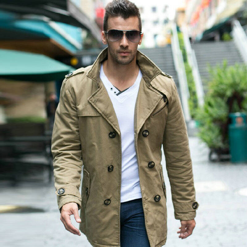 2014 ls新款冬季男士風衣中長款純棉水洗加厚保暖男裝圖片