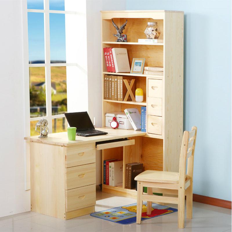 實木書桌 電腦桌 現代中式書房家具書桌書柜書架組合兒童學習桌寫字桌圖片
