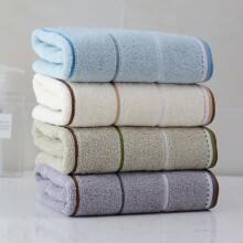 洁丽雅(Grace)新疆棉毛巾4条装纯棉强吸水条纹毛巾 72*34cm 米色+蓝色+深灰+浅灰 90g/条