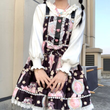 依锦艾 全款lolita黑甜可爱日系洛丽塔背带裙 1021猪古力黑色 XL