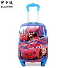 儿童行李箱男密码箱手拉箱卡通蛋壳儿童拉杆箱男女小孩18英寸小学生万向轮户外旅行箱行李箱 18寸红汽车