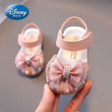 迪士尼(Disney)婴儿凉鞋软底女宝宝春夏天学步鞋子小公主女童鞋1-3岁2幼儿包头0小孩子夏天穿的 粉色 18码/内长13.5cm