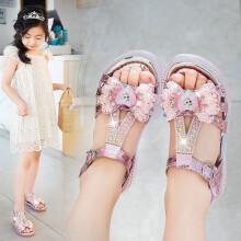 迪士尼同款 女童凉鞋软底爱莎公主鞋2021新款夏季儿童水晶鞋女孩中大童休闲鞋 粉红色 29码内长约18.2cm