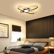 VVS美学灯 北欧后现代简约LED吸顶灯卧室大气家用创意个性艺术书房卧室灯饰 黑色款大号直径45*6CM单色白光