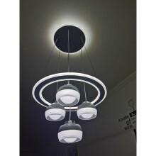 奥本佳2021年新款轻奢简约现代餐厅吊灯led吊顶创意饭厅客厅灯圆形灯具 灰色- 三色+无极+ 吸盘发光 +遥控