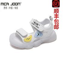 支持鴻星尔克乔·丹(中国)专卖童鞋 男宝宝凉鞋夏季婴儿1一2岁小童3包头4软底儿童防滑男童学步鞋女宝 白色 21码/内长13.5cm