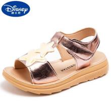 迪士尼女童凉鞋2021夏季新款时尚韩版软底儿童凉鞋学生休闲小女孩沙滩鞋 粉色 31码内长19.50cm