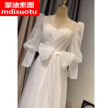小个子日式轻婚纱登记照旅行拍照小众法式轻婚纱两穿礼服2021新款新娘结婚平时可穿简约领证出门 白色 赠:头 量身定制换