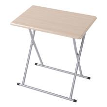 好事達簡易學習桌 電腦桌戶外折疊桌子折疊餐桌便攜式 臺式家用學生學習桌寫字臺書桌銀灰+楓木色1072