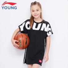 李宁童装女童T恤短袖中长款连衣裙 YSKP012 YSKP012-5标准黑 130
