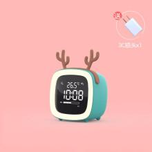儿童房卧室小夜灯带时钟闹钟一体多功能可爱创意充电式睡眠床头灯 碧玉蓝+鹿+数据线+插头