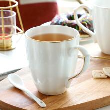 马克杯大容量 家用喝水杯子陶瓷办公室茶杯简约咖啡杯带勺男女情侣杯骨瓷牛奶杯 金边南瓜杯(450ml)