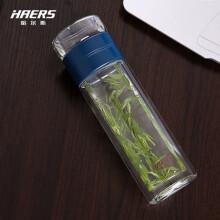 哈尔斯 双层玻璃水杯HBL-300-37分离泡茶杯茶隔茶漏春夏季商务办公茶韵功夫泡茶300ML便携 蓝色