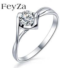 FeyZa 钻戒白18k金天使之吻求婚/结婚订婚/对戒钻石戒指女戒送女友生日礼物纪念日礼品 现货白18K金10分-A款