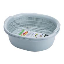 京东超市全适 沥水篮双层大号沥水架漏筛旋转圆形洗菜盆 厨房洗菜蓝水果篮 蓝色