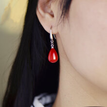 S925银针珍珠耳环韩国长款大红色新娘耳坠女简约气质耳饰品 红豆珍珠耳环【A47】