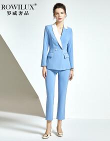 罗威奢品(ROWILUX)品牌女装韩版西装套装女正装职业装气质高端小西装外套女休闲西服套装 西装+裤子 S