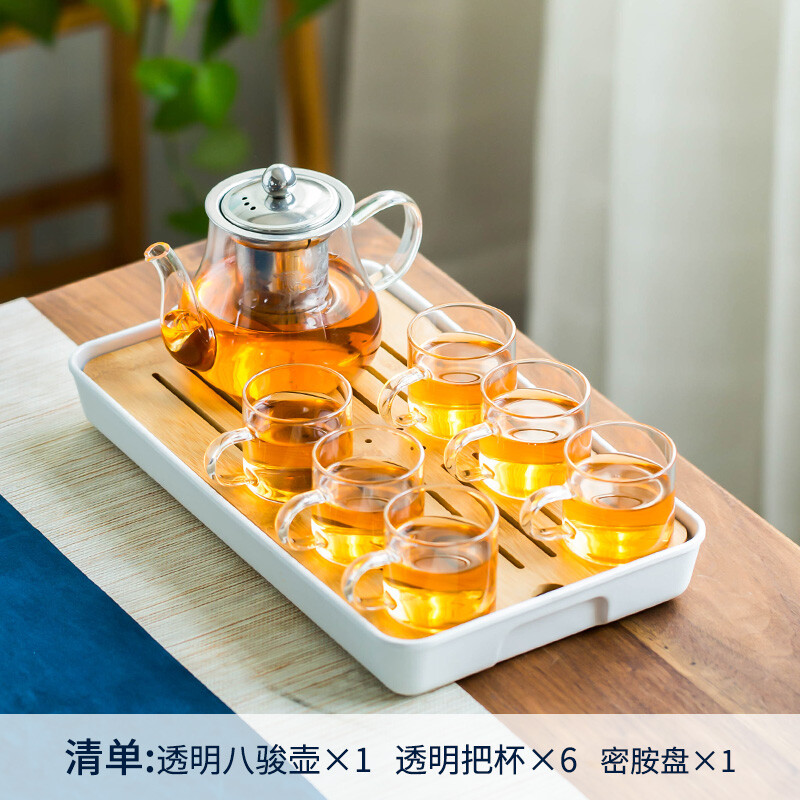 Transparent Handle (hachijun) 7-piece Set + Small Rectangular Melamine Plate