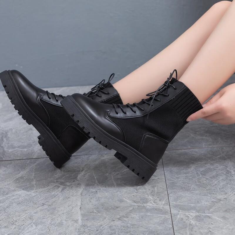 2020秋冬新款时尚百搭女靴鞋马丁靴 黑色