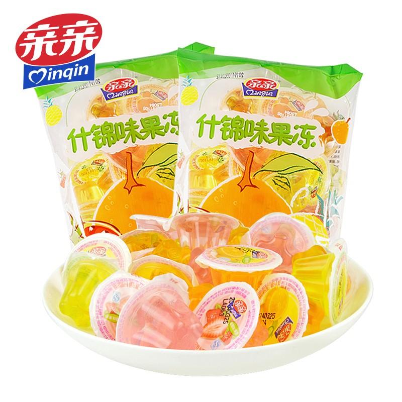 【8.9元包邮】亲亲 什锦水果果冻 360g*2袋 (约36个)