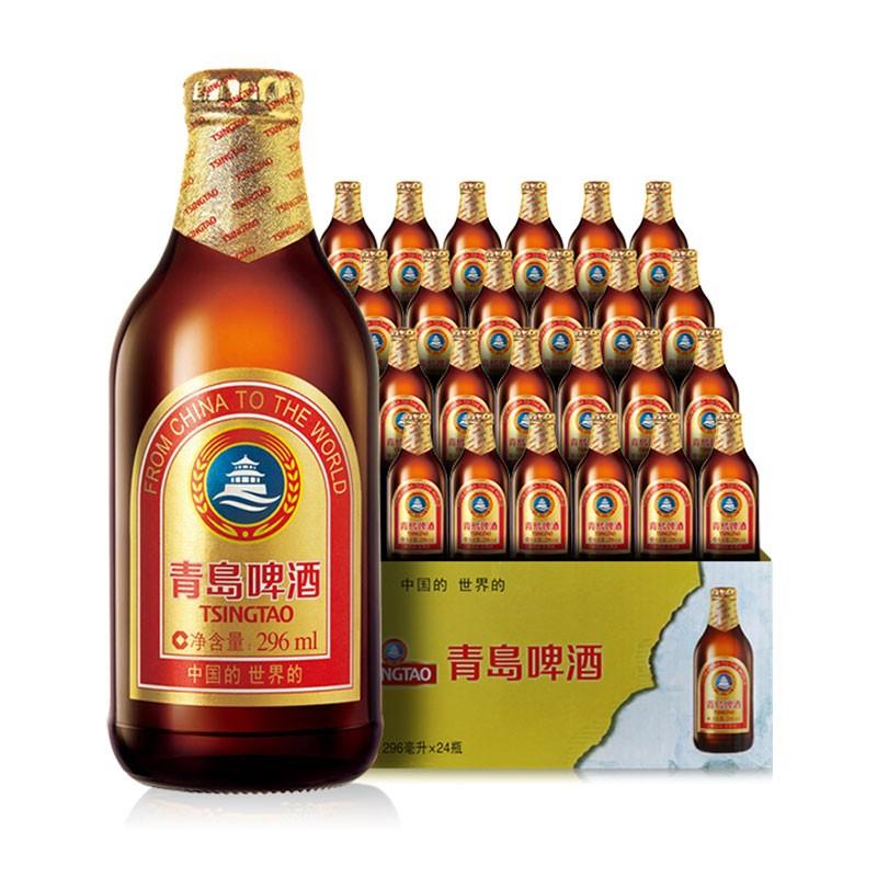 【叠加平台券到手价94!】【JD超市】青岛啤酒 小棕金 11度296ml*24瓶 整箱