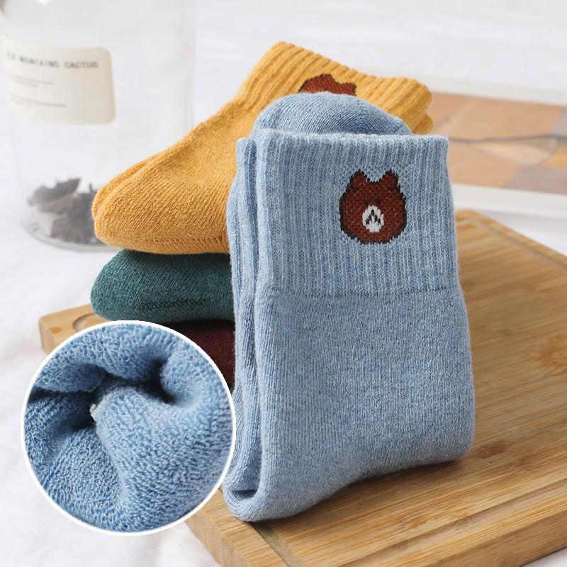 初沫 袜子女士加绒加厚毛圈袜5双   加厚毛圈