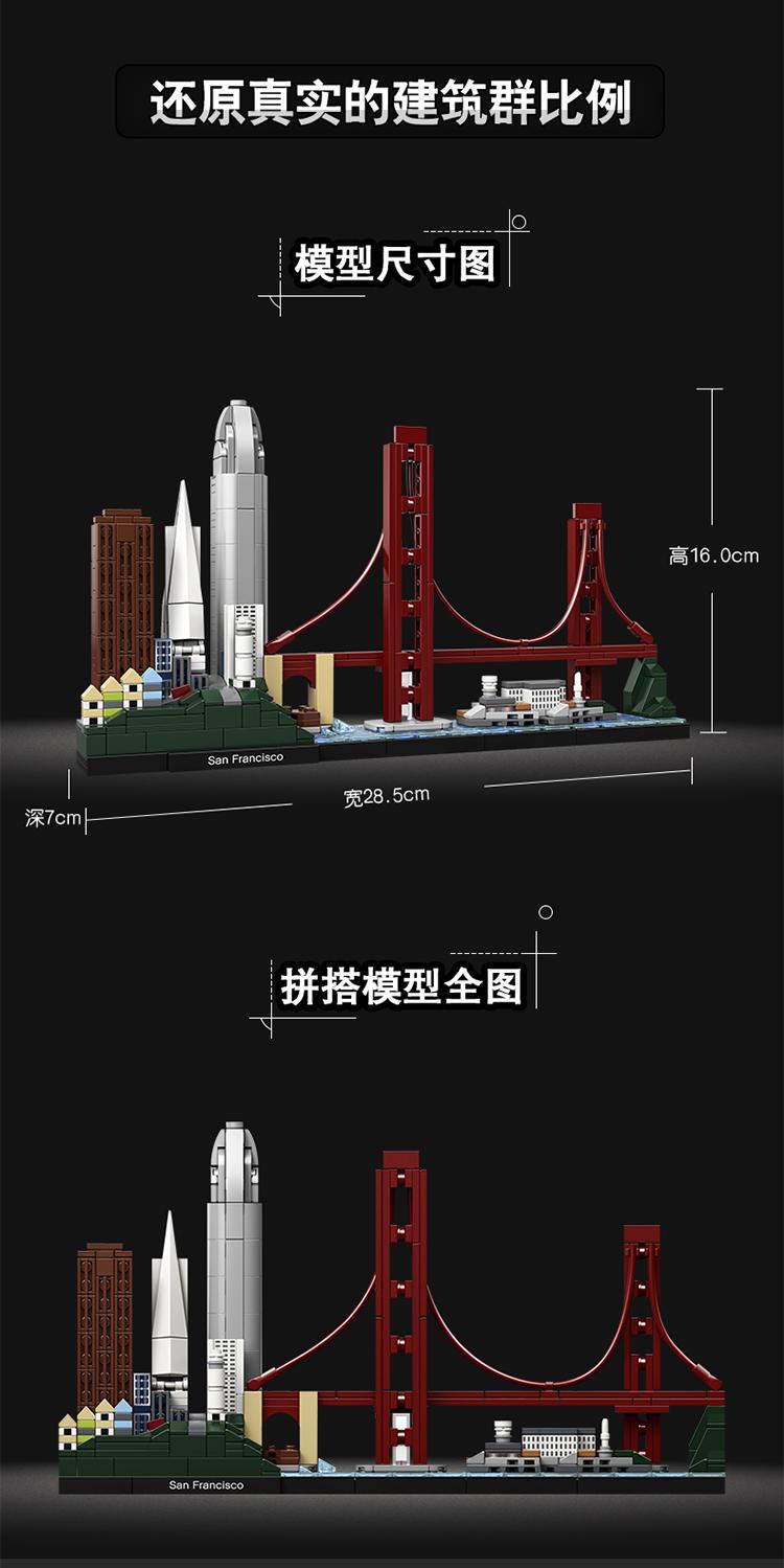 乐高LEGO 建筑系列 旧金山 12岁+ 21043