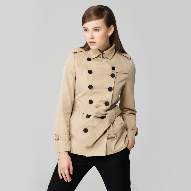 mfsuier 2014時尚高端英倫女裝風衣秋裝新品防風面料雙排扣短款修身圖片