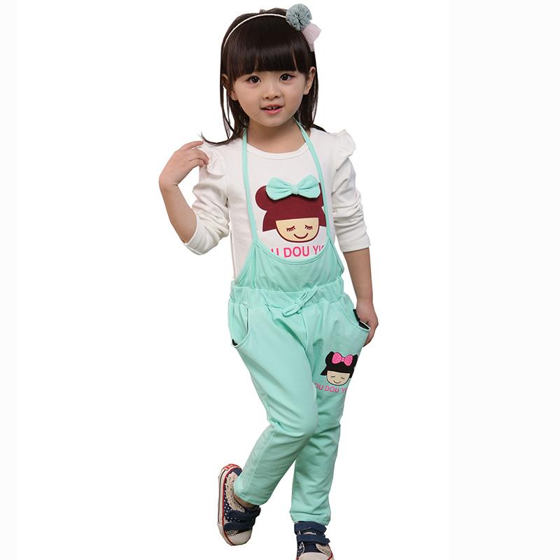 依百购 2015春装女装背带裤套装韩版儿童套装女童纯棉