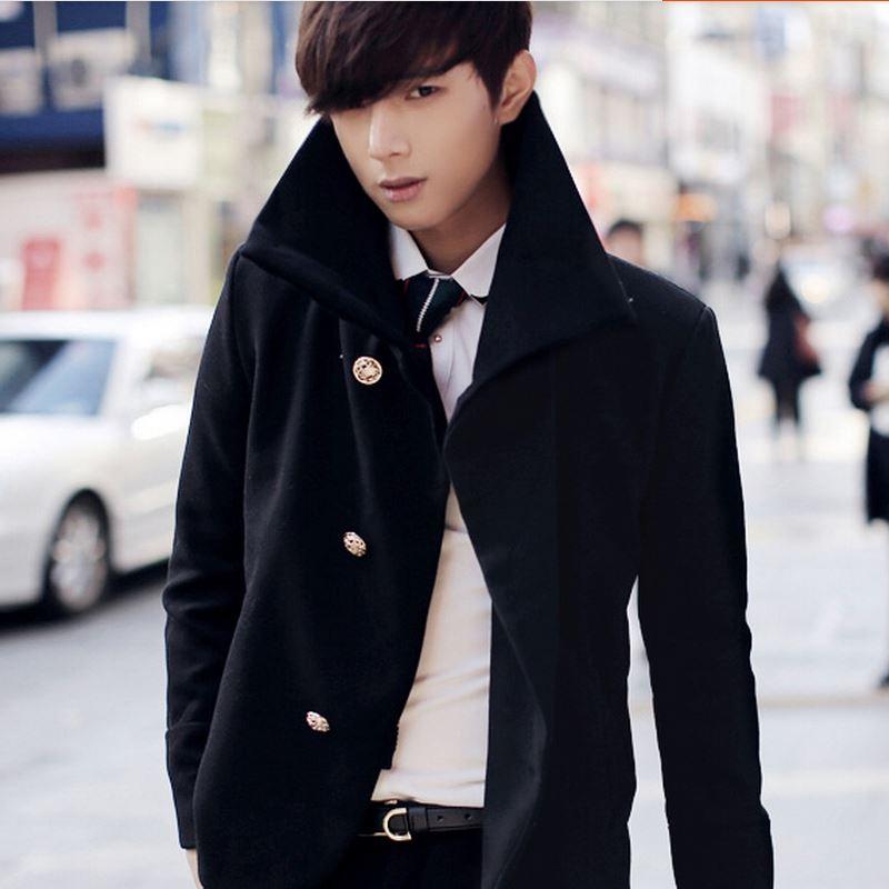 夢幻謙色2014冬季新款風衣韓版青少年修身男裝外套呢子大衣短款潮圖片