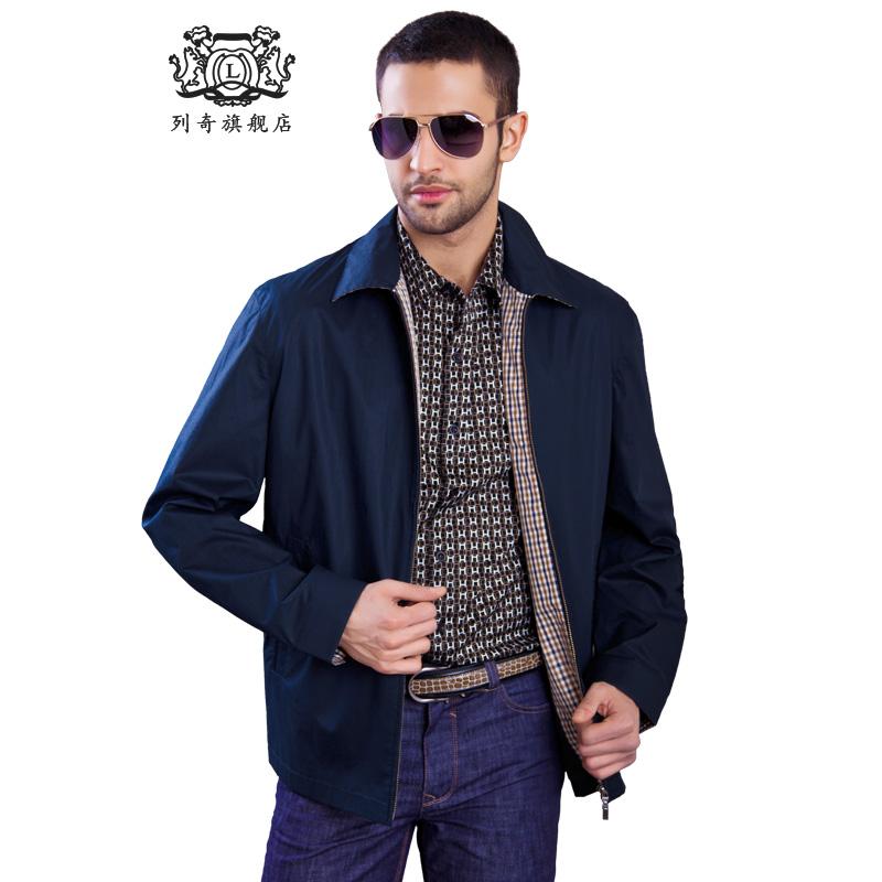 列奇精品高端男裝商務休閑夾克高端品牌翻領中年男士薄茄克外套圖片