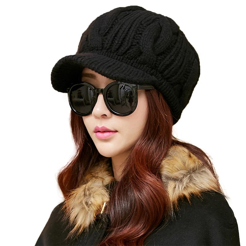 女女干_siggi 帽子女秋冬天韩版冬季毛线帽女韩国全羊毛针织帽户外护耳帽