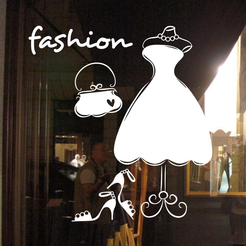 時尚女裝 女裝服裝店櫥窗貼裝飾 玻璃貼墻貼紙 玻璃門