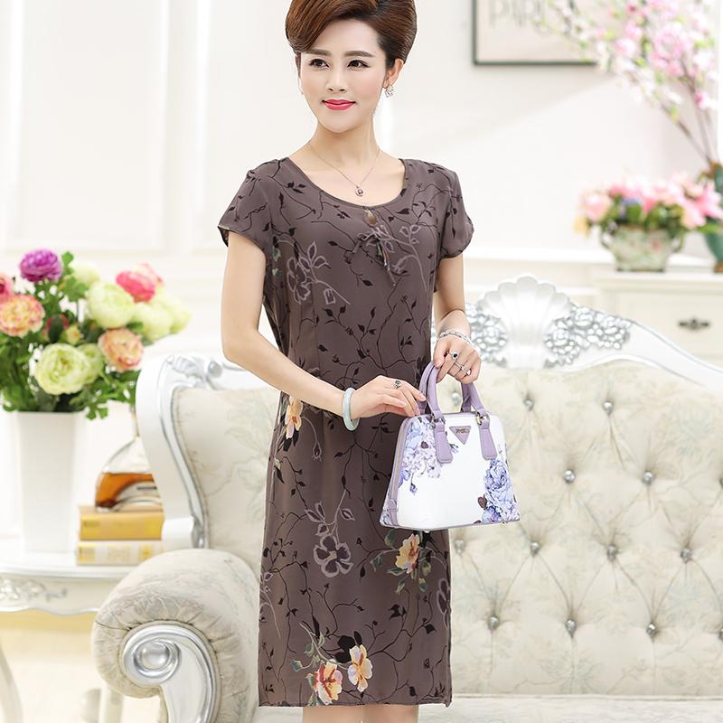 中老年女裝夏季短袖100%真絲連衣裙圖片