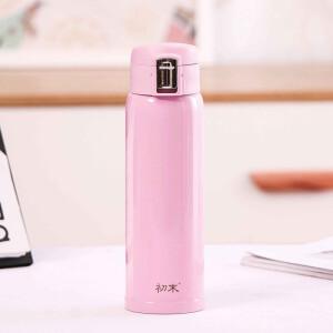 京东PLUS会员: 初末 便携式简约保温杯不锈钢 460ml粉色 +凑单品 主图