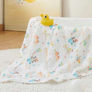 有券的上:Wellber 威尔贝鲁 6层婴儿纱布浴巾 大毛巾被盖毯105X110CM小熊猫 *2件+凑单品 主图