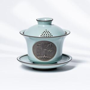 熹谷 禅茶一味三才盖碗功夫茶具 天青 主图