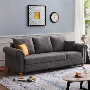 20日10点、历史低价: QuanU 全友 102306 简约美式沙发 三人位 灰色 主图