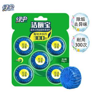 有券的上:EVER GREEN 绿伞 蓝泡泡洁厕宝 50g*5粒 主图