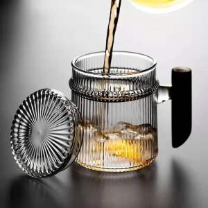 普智 木柄线纹玻璃泡茶杯 400ml 主图