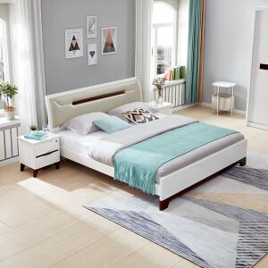 12日0点、双12预告: QuanU 全友 121806 简约北欧软靠式双人床组合 1.5*2m(床+垫+床头柜) 主图